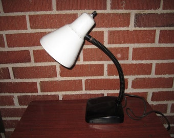 Vintage Mid Century Modern Heavy Black and White Gooseneck Metal Desk Lamp