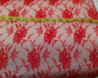 Red Lace Fabric sold BTY