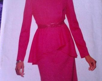 Easy Two Piece Peplum Dress MOB 12 14 16 Butterick 6895
