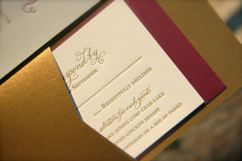 Burgundy And Gold Wedding Invitations: Burgundy And Gold Wedding Invitation Letterpress Wedding