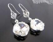 Swarovski crystal earrings, Bridal earrings, bridesmaid earrings, wedding jewelry, flower accent earrings
