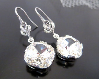Swarovski crystal earrings, Bridal earrings, bridesmaid earrings, wedding jewelry, flower accent earrings