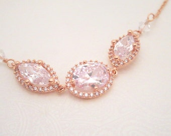 Rose gold necklace, Bridal necklace, Bridesmaid necklace, Crystal necklace, Bridal jewelry, Wedding jewelry