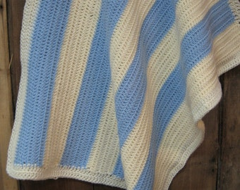 REDUCED Lovely lap/ couch/ daybed crochet blanket in pale blue and cream- perfect for a lap blanket or baby
