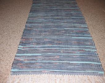 Handwoven Blues w/ Orange Accents Rag Rug 25 x 54