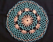 Vintage Round Floral Crocheted Turquoise/Aqua and Peach/Orange Lace Doily Handmade 9.50 inch diameter