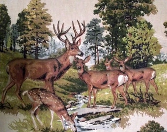Deer Wall Hanging / Vintage 70s Deer Motif Fabric in Frame Trapunto / Rustic Decor