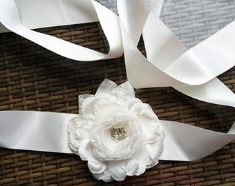 Bridal Sash, Wedding Dress Sash,  Cream Satin  Flower,Ivory Organza flower,Pearls, rhinestones,Sash Belt - OOAK