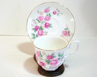 Duchess Teacup And Saucer English Bone China Pink Roses