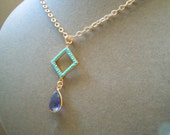 Perfect Pendant Collection -- Dillon -- One of a Kind Turquoise and Tanzanite Pendant Necklace