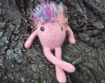 Monster plush toy, monster toy, hand knit and felted monster doll, bad hair day doll, hairy monster toy, pink Gink plush, made to order