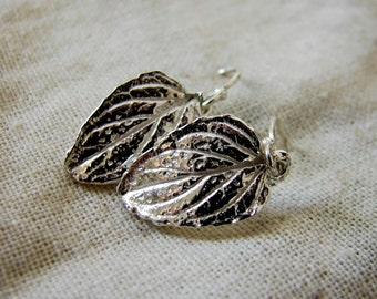 Delicate Silver Leaf Earrings. Sterling Silver Leaf Earrings. Tiny Dangle Earrings. Rustic Earrings. Fall Botanical Leaf Jewelry