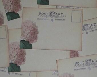 50 Pink Hydrangea Vintage Post Card Wedding Place Card or Wedding Escort Cards