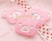 20mm Pink Glitter Bear Kawaii Cabochon Decoden Pieces - 5pcs