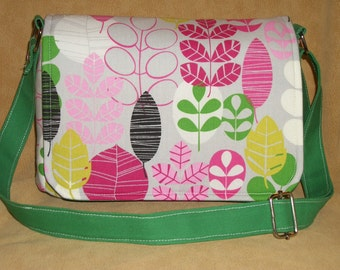 Purse Shoulder Bag Crossbody Medium-Sized Bag Flap Hot Pink Lime Black Gray Retro Leaves Pockets Magnetic Snap