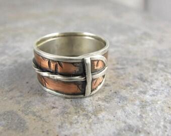 Copper, Sterling, Silver, Silver Lined, Cross, Handmade Ring, Christian, Twist, Anniversary, Wedding, Birthday, Gift