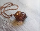 Glass Acorn Necklace in Coffee Swirl with attached Leaf by Bullseyebeads