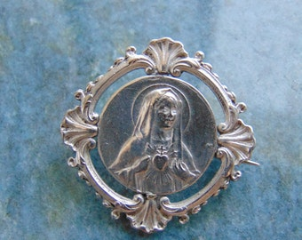 French Antique Vintage Sterling Silver Sacred Heart of Mary The Holy Virgin Mother and The Sacred Heart Jesus Catholic Medal Pin Brooch