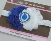 Colts Blue & White Headband-Baby Headband-Toddler Headband-Elastic Headband