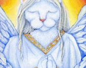 Angel Cat Art, Winged White Cat in Robes 8x10 Art Print DISCONTINUED