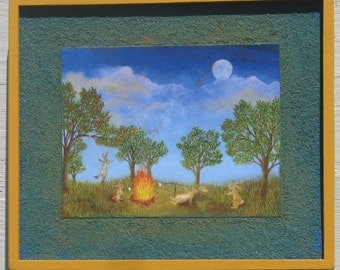 Rabbit art print  Bunny Rabbits Party in the Park Campfire in the moonlight camping out framed