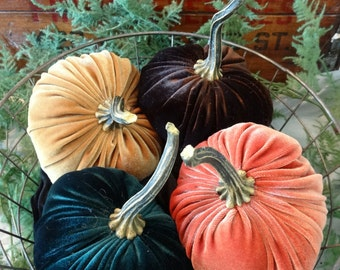 Scented Velvet Pumpkins, SET of 4:  orange, mustard, dark green, rich brown