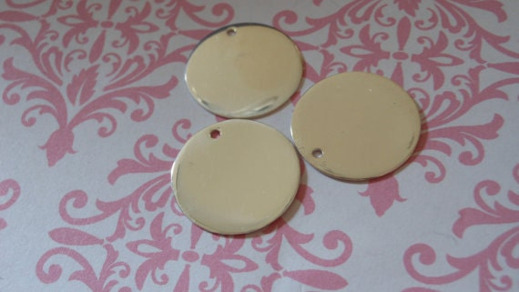"Shop Sale..10 pcs, Bulk, Sterling Silver Blanks Disc Tags, 13.5 mm Round Circle, over 1/2"" inch, Thick n Heavier 24 gauge, blank13.5"