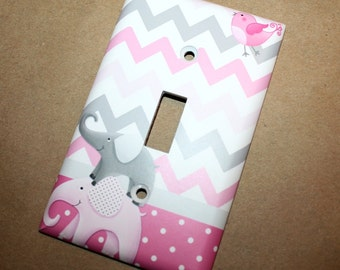 All Creatures Big and Small Pink Gray Elephants and Birdies Girls Bedroom Single Light Switch Cover LS0042