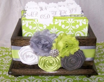 GUEST Book Box, Advice Box, Wedding Guest Book, Lime Green and Gray, Ebnoy Stained Box, Rustic Box, Gray Box, Custom Colors available