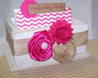 Wedding Guest Book Box - Advice Box, Guest Book- Distressed White Box, Hot Pink Chevron, Burlap