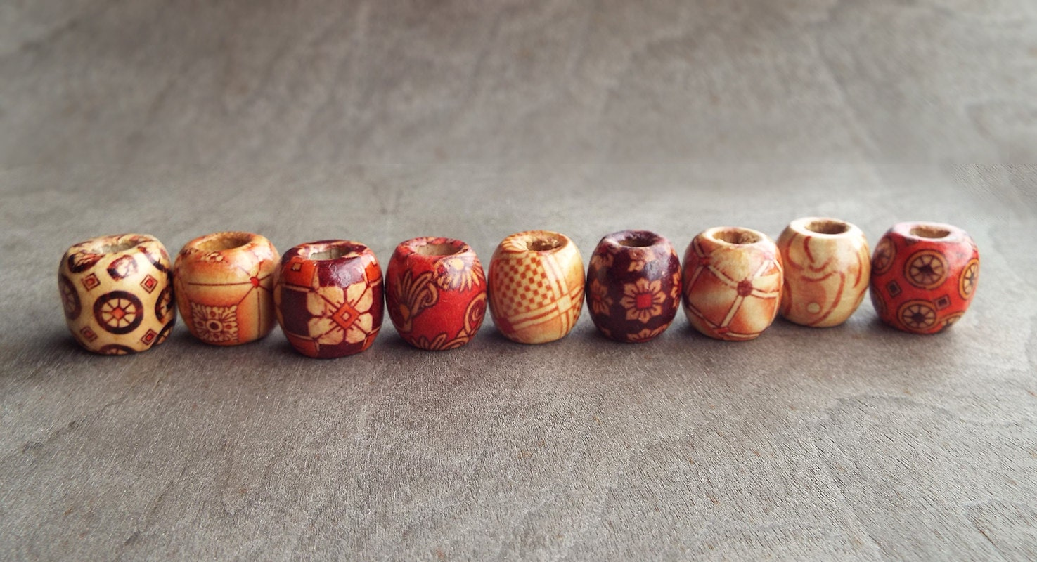Dreadlock Beads Patterned Wood Dread B...