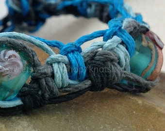Hemp Bracelet, Anklet or Choker Necklace -  Black, Grey and Shades of Blue -  Macrame Hemp Jewelry - Adjustable - 6 to 11 Inches