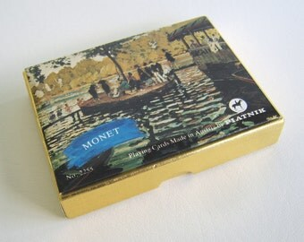 Vintage Platnik Monet Playing Cards Boxed Set Double Deck Austria
