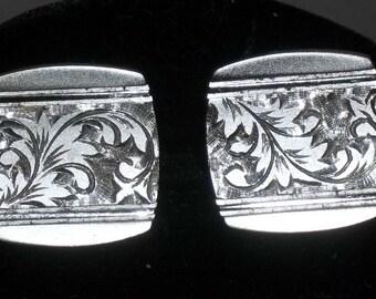 Vintage Etched Floral Modernist Cuff Links Cufflinks Silver Tone