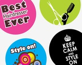 Hilarious Hair Dressers and Designs - One (1x) Inch Round Pendant Images - Digital Collage Sheet -Buy 2 Get 1 Free -25mm (1 inch) Bottle Cap