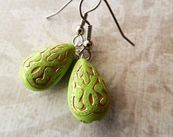 Green and Gold Etched Lucite Drop Earrings