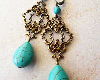 Antiqued Brass Filigree and Turquoise Stone Earrings, vintage inspired, romantic, art nouveau