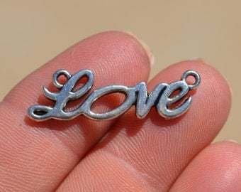10 Silver LOVE Connector Charms SC2229