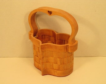 Heart Basket Small with Handle Handmade
