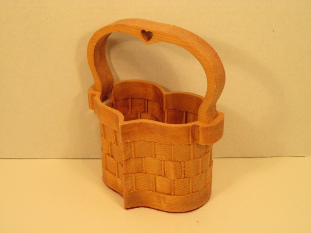 Handmade Heart Basket : Heart basket small with handle handmade