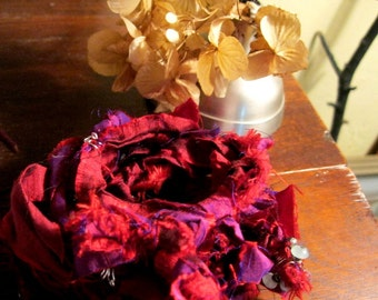 TEXTILE Bracelet in Lush Red and Royal Purple, Recycled Sari Silk, shabby, rustic, fiber, fabric, raw