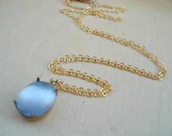 Blue Glass Necklace Sapphire Necklace Blue Glass Pendant Vintage Necklace