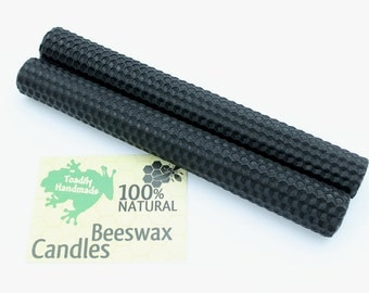Hand Rolled Beeswax Honeycomb Tapers in Black Available in 6 Heights