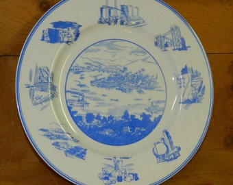 1949 Industrial Pittsburg Themed Plate Joseph Horne Department Store Centennial Atomic Mid-Century CrabbyCats, Crabby Cats