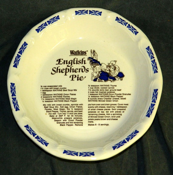 Pie Plate Watkins English Shepherds Pie Recipe Vintage Kitchen