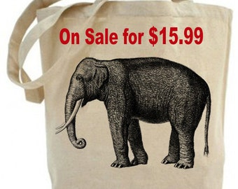 Elephant - Eco Friendly tote -  Canvas Tote Bag