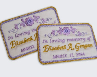 embroidered dress label homage in memory custom label any occasion silk satin