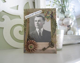 Father Birthday Card - 60th Birthday Card Male - Masculine Card - Vintage-style Card - Husband 60th Birthday