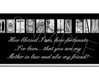 MOTHER IN LAW  Inspirational Plaque black & white letter art