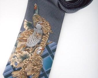 PHEASANT HUNT TARTAN- Pierre Cardin silk twill necktie